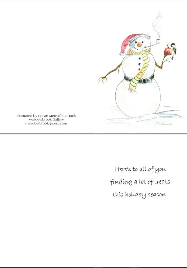 Snowman with corncob pipe